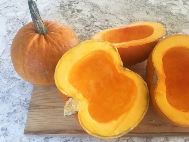 fresh pumpkins halved